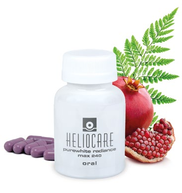 <b>ANTIOXIDANT POWER</b> Fern and pomegranate extracts in the Heliocare PureWhite Radiance Max 240 fight free radical damage caused by the sun.