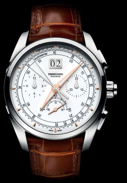 Tonda Chronor Anniversaire (left) features an integrated chronograph built from scratch. The Kalpa Hebdomadaire Anniversaire (far left) pays homage to the brand's first model created by Michel Parmigiani.