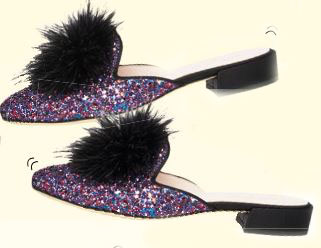 Kate Spade New York glitter  mules, $450 These furry  babies are  sure to steal  the spotlight!
