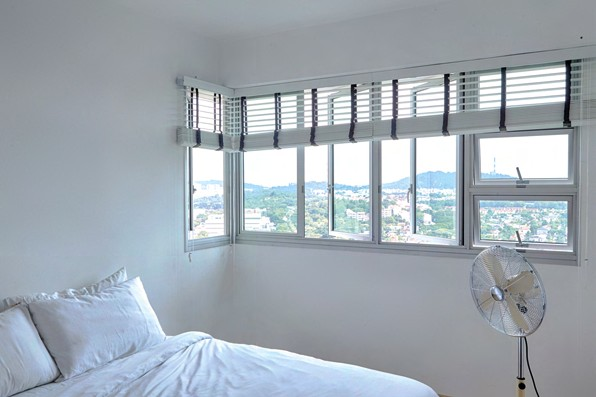 The homeowners enjoy unobstructed views of the surrounding landscape, with Bukit Timah Hill in the distance.