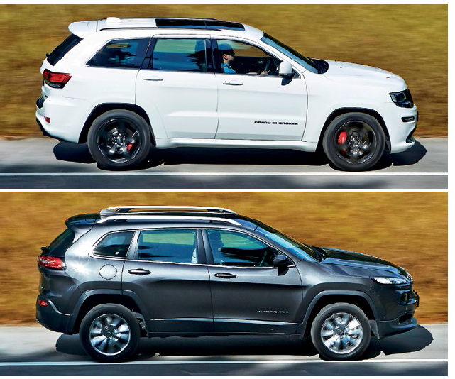 SRT8 is the Jeep tribe's fiercest warrior – it makes the Cherokee (right) seem meek in comparison.