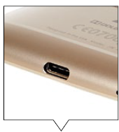 At the bottom of the phone there's a USB Type-C charging port.