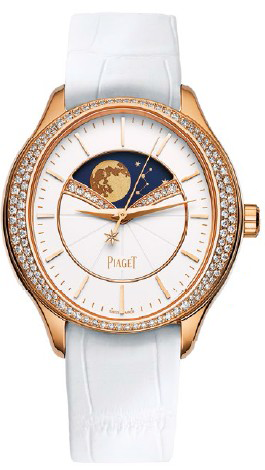 Limelight Stella pink gold watch with diamonds and croco strap (price unavailable).