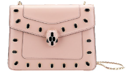 Serpenti leather bag with studs (price unavailable).