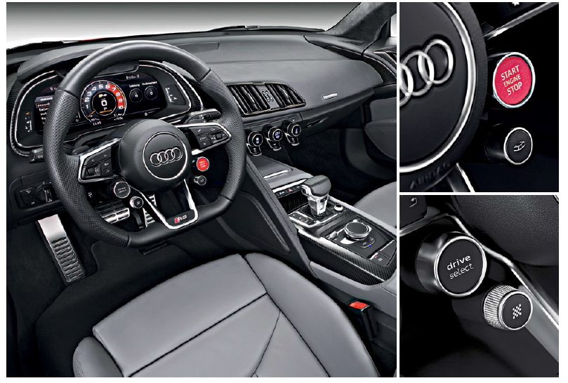 """The drivercentric cockpit now has more drama and gadgets, including a set of """"press play"""" buttons on the steering wheel of the V10 Plus variant."""