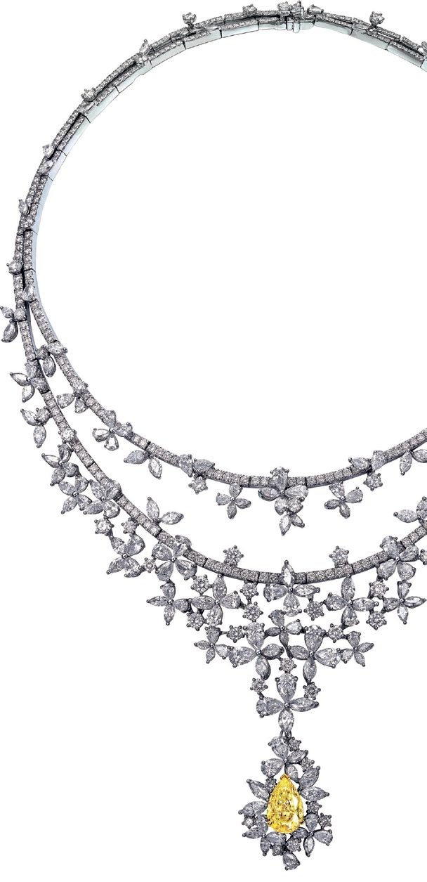 White gold, yellow diamond and white diamond Helios Radiance necklace,  $385,600, Larry Jewelry