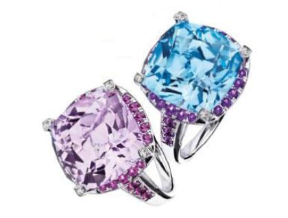 From left: White gold ring with rose de France amethyst, sapphires and diamonds, and white gold ring with topaz, amethysts and diamonds, $1,490 each.