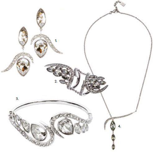 1. ATELIER SWAROVSKI by Shaun Leane Silvershade Earrings, $550 2. ATELIER SWAROVSKI by Shaun Leane Black Diamond Ring, $800 3. ATELIER SWAROVSKI by Shaun Leane Silvershade Cuff, $880 4. ATELIER SWAROVSKI by Shaun Leane Necklace With Black Pendant, $550