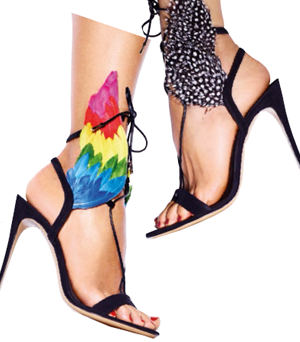 Dream suede and leather sandals with feathers, $1,890.