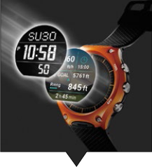 The dual-layer LCD structure gives the WSD-F10 flexible display options to save battery life.