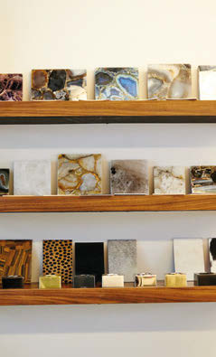 Materials shoppers may choose from include rocks like quartz and agate, as well as leather and wallpaper.