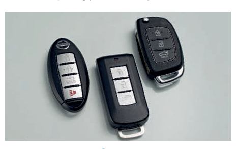 KEYS (From left) The Almera fob is the slimmest and easiest to park in the pocket, the Attrage's device is the largest and classiest, while the buttons on the Accent's switchblade-type key are the nicest to press.