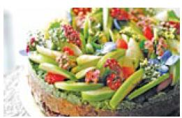 Raw vegan, gluten-free chocolate and matcha cake with green apples