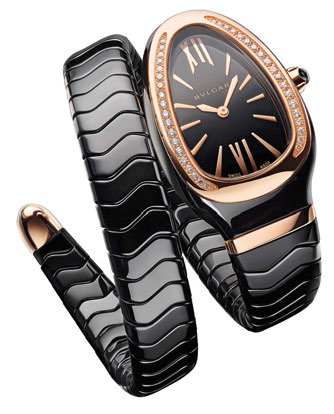 Serpenti Spiga ceramic and pink gold watch, $13,950.