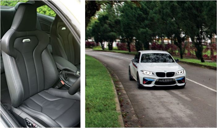 The M4's front seats are sportier than the M2's, but the driving positions in both cars are spot on.