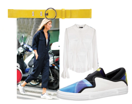 Sarah Rutson goes easy-breezy with a cropped jumpsuit, Belt, Dsquared, Shirt, Sinéquanone, Sneaker, Y-3