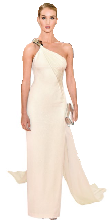 The statuesque supermodel oozing old-Hollywood glamour in a oneshoulder ivory gown at the Met Gala last May.