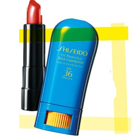 Bareminerals Marvelous Moxie Lipstick in Go The Distance, $33. Shiseido UV Protective Stick Foundation SPF 36 PA+++, $38