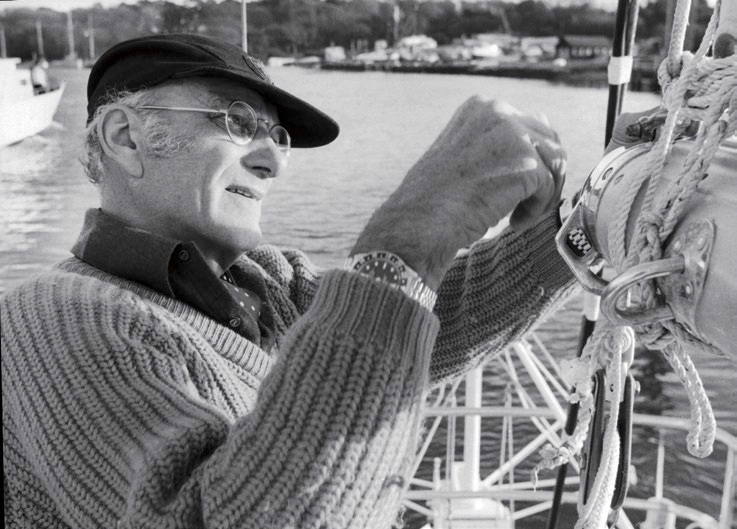 Sir Francis Chichester in Bucklers Hard, England, on December 7, 1970 as he prepares his sailboat, the 17.10m Gipsy Moth V, for a 4,000 nautical mile solo voyage between Bissau (Portuguese Guinea) and Juan Del Norte (Nicaragua).