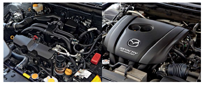 Both vehicles are powered by 2.5-itre engines with quite similar outputs – 187bhp in the Mazda and 175bhp in the Subaru.