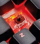 Under the keycaps you'll find Cherry MX Brown switches.