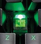 Under the keycaps you'll find Razer's Razer Green switches.