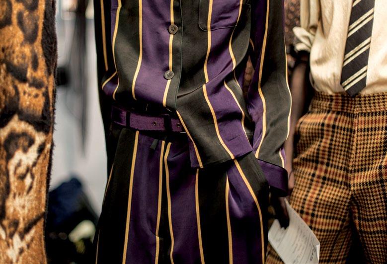 Bold stripes taken from public school boy uniforms