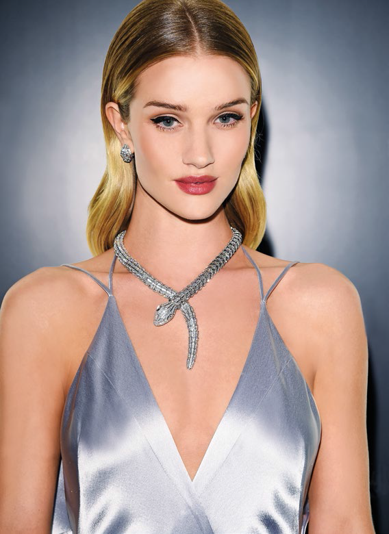 Keeping it classy: Rosie looks elegant in a silver gown and a Serpenti white gold and diamond necklace with matching earrings from Bulgari's high jewellery collection.