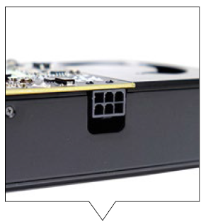The card requires just one 6-pin power connector for power.