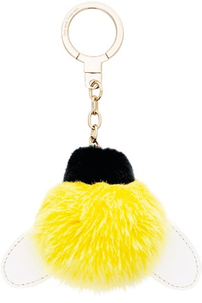 Queen Bee Pom Pom faux fur and leather charm with gold-plated metal ring (price unavailable).