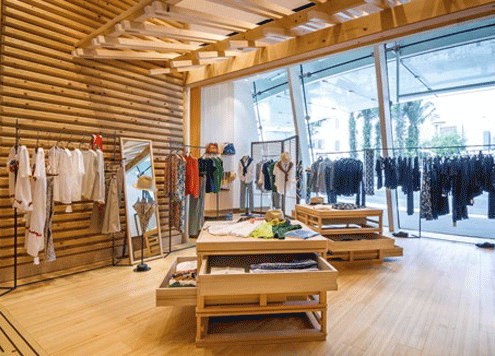Hinoki wood imported from Japan features heavily in the Singapore store.