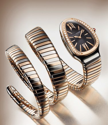 Serpenti steel and pink gold watch.