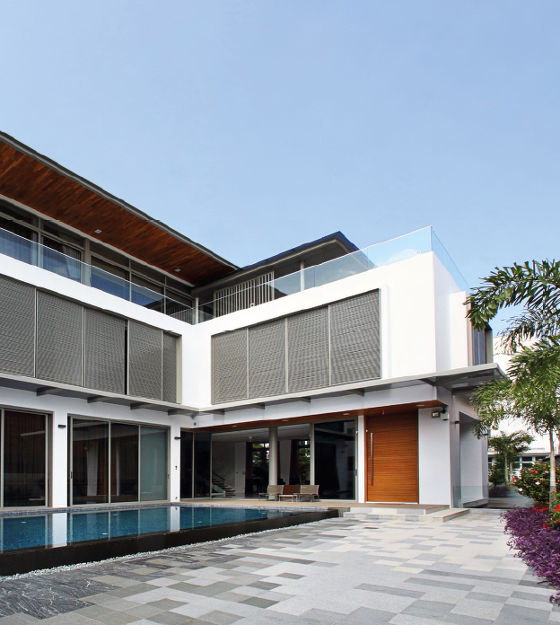 All rooms in the upper floors of the house open up to views of the swimming pool.