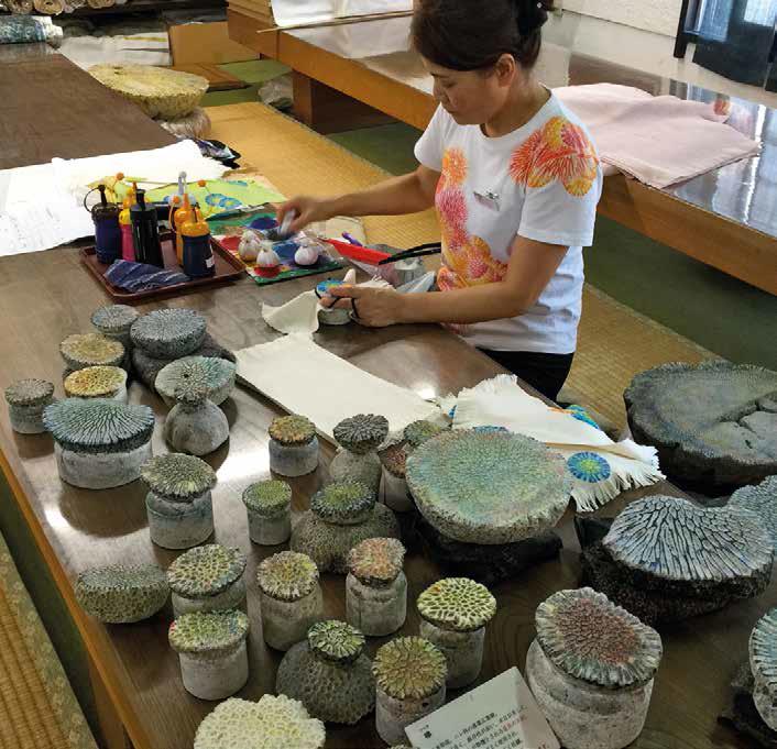 Experience Okinawan crafts like coral and Bingata dyeing at Shuri Ryusen.