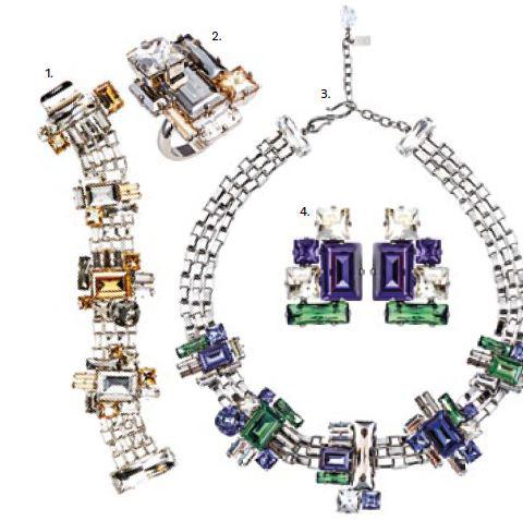 1. ATELIER SWAROVSKI by Philippe Ferrandis Crystal Bracelet, $1,550 2. ATELIER SWAROVSKI by Philippe Ferrandis Crystal Ring, $700 3. ATELIER SWAROVSKI by Philippe Ferrandis Small Crystal Necklace, $1,950 4. ATELIER SWAROVSKI by Philippe Ferrandis Multi-coloured Earrings, $510