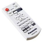 The bundled white remote is small and doesn't have a lot of buttons.