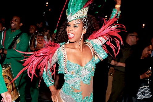 A samba dancer setting the mood for the night