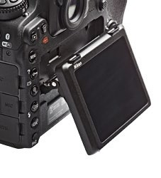 The D500 gains a tilt LCD that has limited touch functionality.