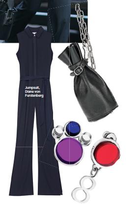 Jumpsuit, Diane von Furstenberg, Bag, Alexander Wang, Earrings, Dior