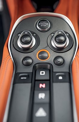 Cockpit of the 570S is simpler in design and slightly more practical than that of the 650S.