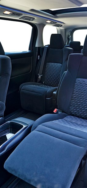 """The main seats in the Vellfire provide more legroom and relaxation than any Lexus limousine, especially the one with the """"super-long slide"""" in the front."""
