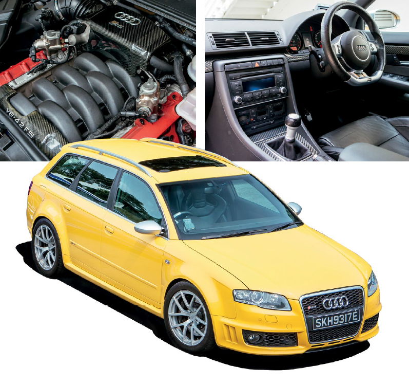 RS4 cockpit is much simpler, with three pedals and a manual gearbox; RS6 cockpit (top) bristles with bells and whistles.