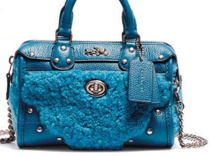 Leather and shearling duffel bag, $645.