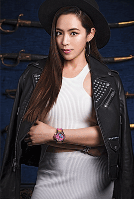 Arissa makes her outfit pop with the Hublot Big Bang Pop Art.