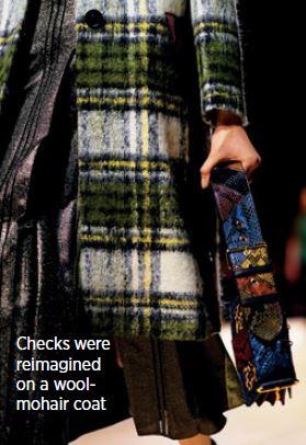 Checks were reimagind on a wool-mohair coat
