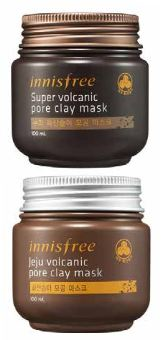 From top: Innisfree Super Volcanic Pore Clay Mask, $21 (100ml), and Jeju Volcanic Pore Clay Mask, $20 (100ml)
