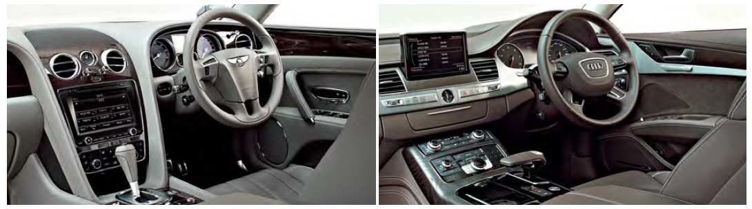 """The Audi's interior (right) is more """"technical"""", while the Bentley's (left) oozes """"classical"""" charm."""