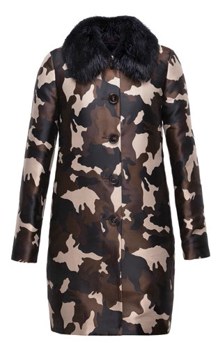 Jacquard and polyester coat with fur collar (price unavailable).
