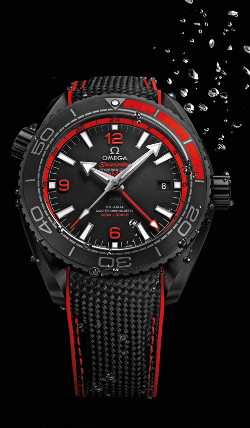 "Seamaster Planet Ocean ""Deep Black"" ceramic and rubber watch with ceramic dial and rubber strap, $16,150."
