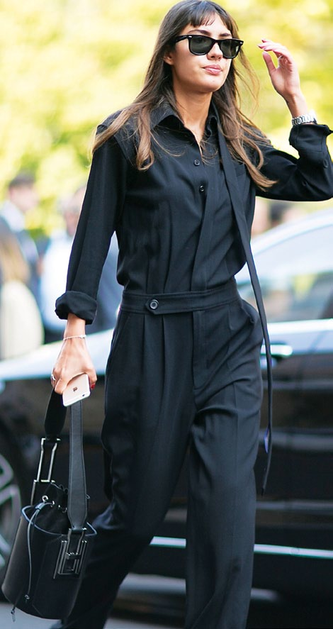 Pleats imbue the jumpsuit with a formal air